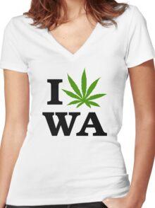 I Marijuana Washington Women's Fitted V-Neck T-Shirt