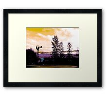 Lavander Feilds, landscape photo, gold and purple, trees, clouds Framed Print