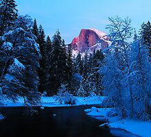 Yosemite Half Dome in Winter by Chuck Harlins