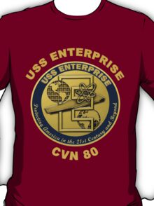 USS Enterprise (CVN-80) Crest for Dark Backgrounds T-Shirt