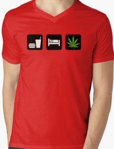 Eat Sleep Smoke Marijuana Mens V-Neck T-Shirt