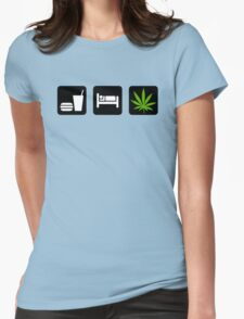 Eat Sleep Smoke Marijuana Womens Fitted T-Shirt