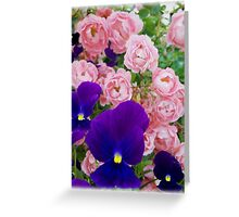 Violets over Roses Greeting Card