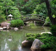 Koi pond with asian wooden bridge by Ken Reardon