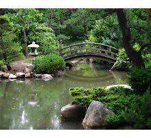 Koi pond with asian wooden bridge Photographic Print