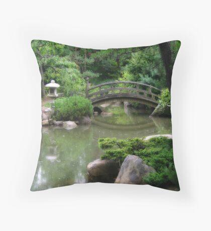 Koi pond with asian wooden bridge Throw Pillow