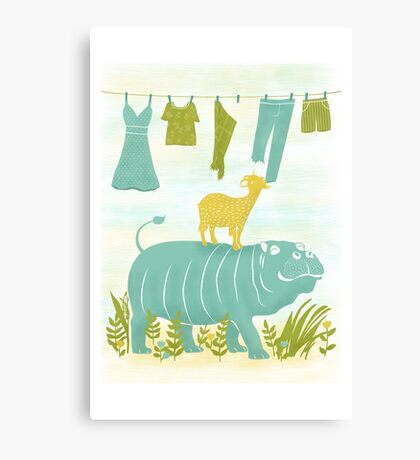 Humphrey the Hippo and the Cameroon Mountain Goat Canvas Print