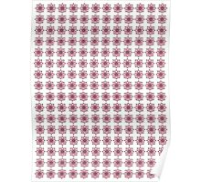 Patterned Rows of Pink and Green Flowers Poster