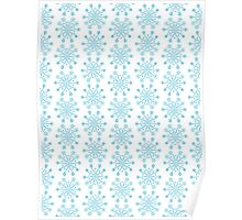 Whimsical Light Blue Flowery Doodle Pattern  Poster