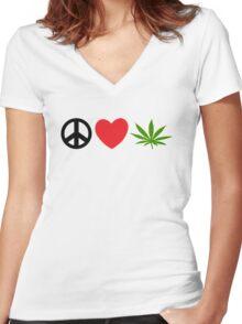 Peace Love Marijuana Women's Fitted V-Neck T-Shirt