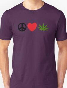 Peace Love Marijuana Unisex T-Shirt