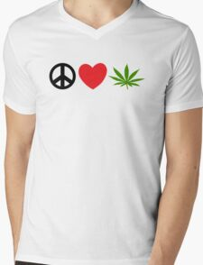 Peace Love Marijuana Mens V-Neck T-Shirt