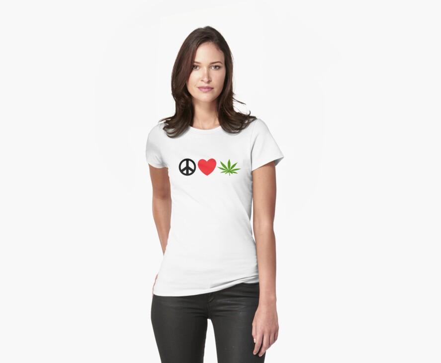 Peace Love Marijuana by MarijuanaTshirt