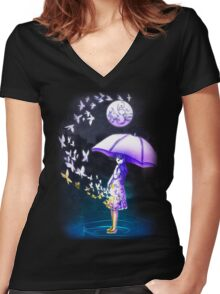 The Girl is Fading . Ver: Magic Women's Fitted V-Neck T-Shirt