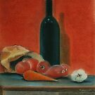 Onions, carrot,  garlic and a bottle of Wine...  by Kostas Koutsoukanidis