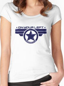 """""""On Your Left Running Club"""" Hybrid Distressed Print 1 Women's Fitted Scoop T-Shirt"""