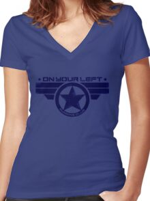 """""""On Your Left Running Club"""" Hybrid Distressed Print 1 Women's Fitted V-Neck T-Shirt"""