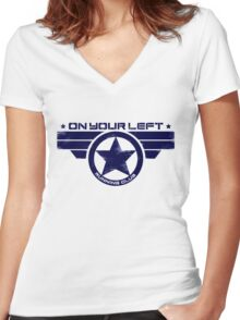 """On Your Left Running Club"" Hybrid Distressed Print 1 Women's Fitted V-Neck T-Shirt"