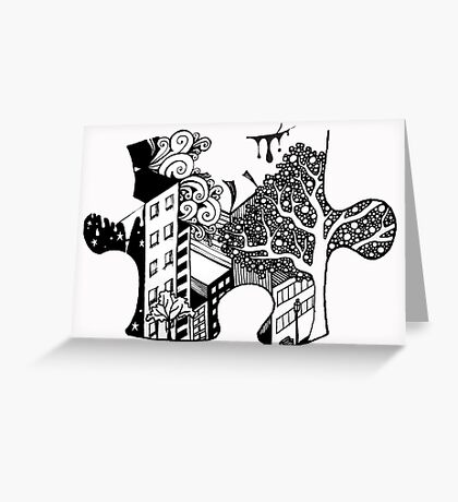 Exquisite Corpse Puzzle Piece Greeting Card