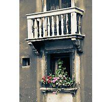 Venice: windows, balcony and flowers Photographic Print