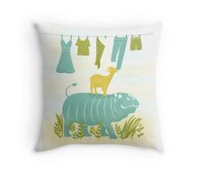 Humphrey the Hippo and the Cameroon Mountain Goat Throw Pillow