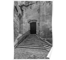 Steps and doorway  to Narbonne cathedral France Poster
