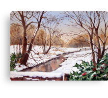 Snowy Stream Canvas Print
