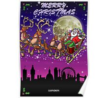 Here comes Santa Claus - London skyline Poster