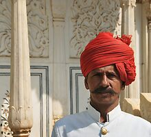 man in red turban, Rajasthan, India by Catherine Ames
