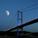 Moon over Bosphorus Bridge, Istanbul by Zoe Marlowe