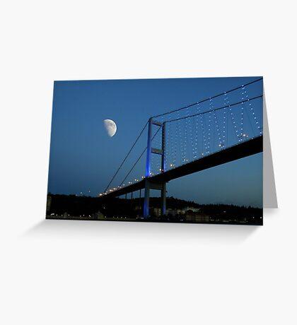 Moon over Bosphorus Bridge, Istanbul Greeting Card