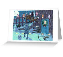 midnight snowball fight Greeting Card