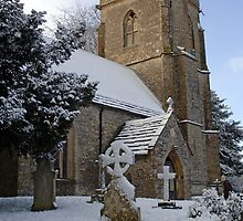 Snow covered church in Dorset by Chris L Smith