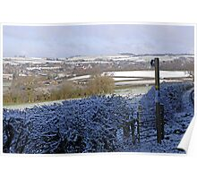 Snow covered fields of Dorset England Poster