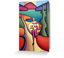 Bodhran player in soft landscape with road Greeting Card