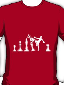 Kickboxing Chess Knee White  T-Shirt