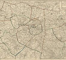 Vintage Map Of Paris And Surroundings - by Jacques Esnauts - 1811 by VintageParis