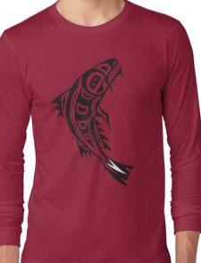 Northwest Native Indian fish totem (vertical) Long Sleeve T-Shirt