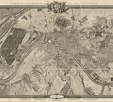 Antique Map of Paris from 1731 - by Roussel by VintageParis