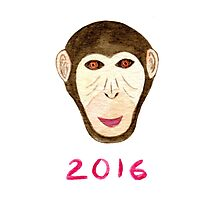 Watercolor monkey print. Happy New year 2016  Photographic Print