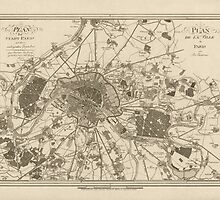Vintage Map of Paris - 1805 - Jos. Lantz by VintageParis