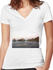 LANDS END CABO SAN LUCAS MEXICO Women's Fitted V-Neck T-Shirt
