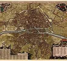 Vintage Map of Paris - c1710 - Jacob de la Feuille by VintageParis