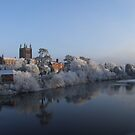 Hereford Cathedral and River Wye on a cold day,07-12-2010 by Robert Lewis