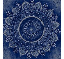 Blue Flower Mandala Photographic Print