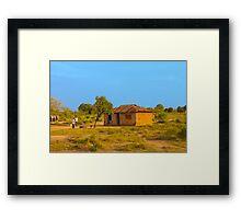 Tribal house outside Mombasa, Kenya Framed Print