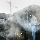 Steam locomotive waiting to leave Loughborough, UK by David A. L. Davies