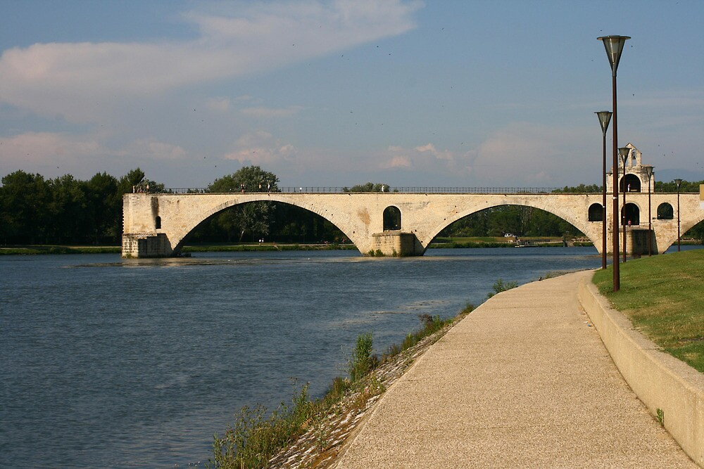 The bridge over the Rhone at Avignon France by Paul Pasco