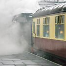 The 14:15 to Leicester leaving Loughborough, UK by David A. L. Davies