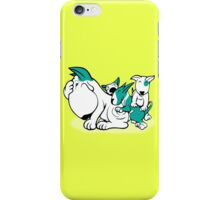 Bull Terrier Pups with Mum Teal iPhone Case/Skin